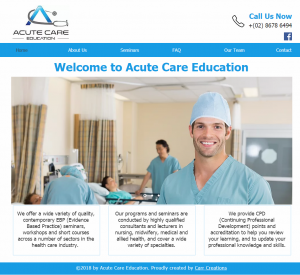 Website Design Acute Care Education